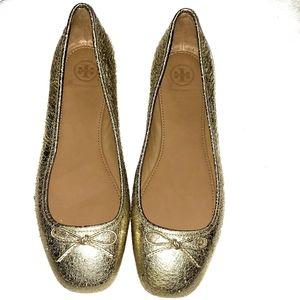 Tory Burch laila bow gold reva ballet flats